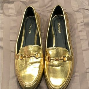 "New TopShop 10k Gold Metallic Loafers 9.5 ""Lucy"""